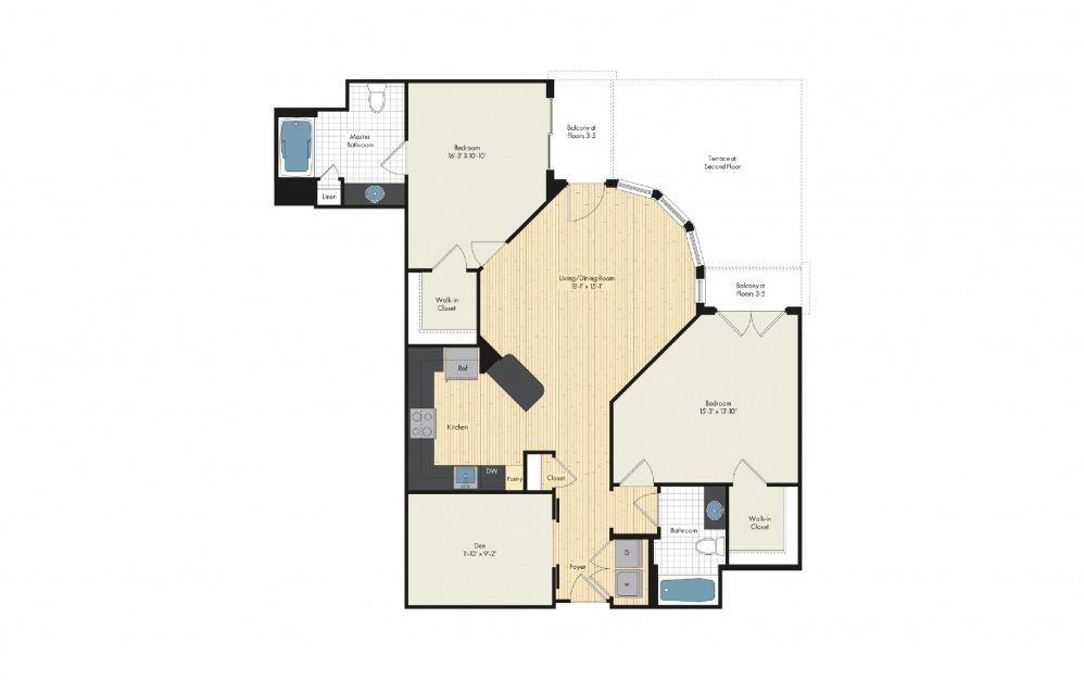 2 Bedroom Floor Plan At Upstairs At Bethesda Row