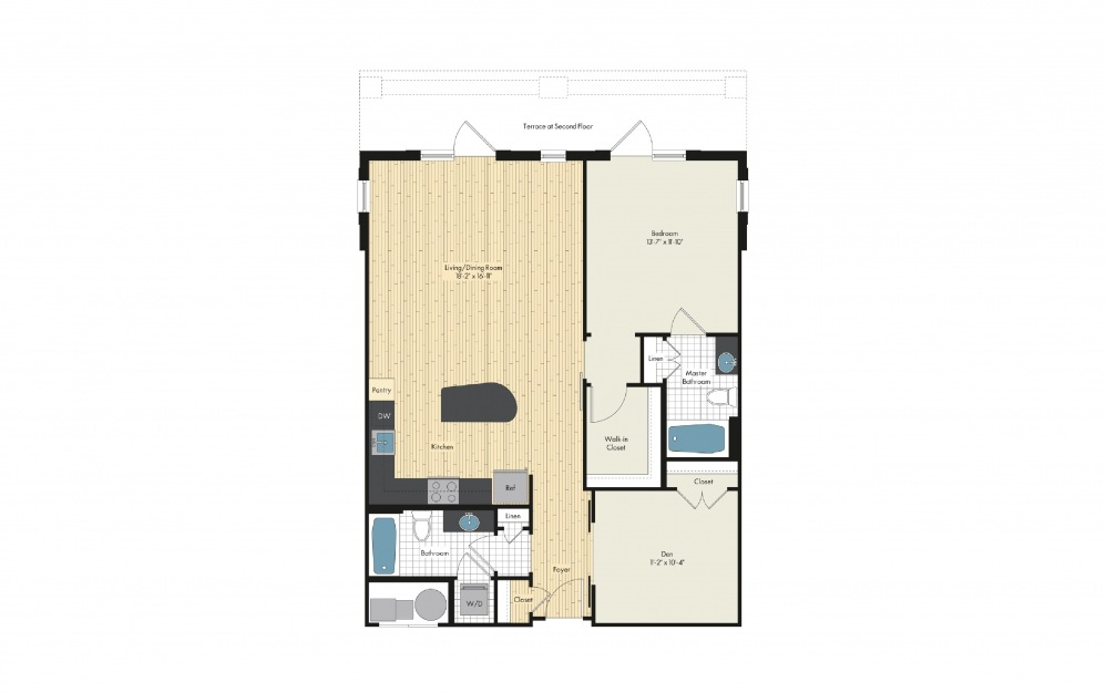 brk16.1 - 1 bedroom floorplan layout with 2 baths and 1105 square feet.