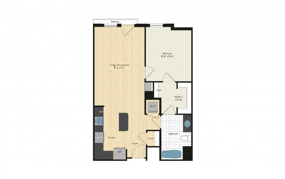 One Bedroom Floor Plan For Upstairs At Bethesda Row