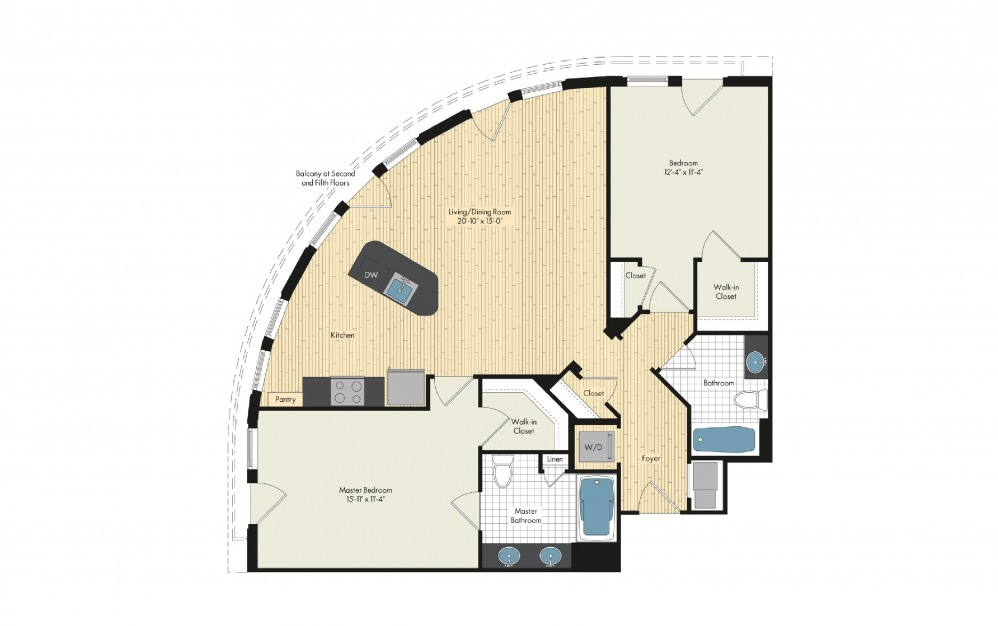 2 Bedroom Floor Plan At Upstairs At Bethesda Row